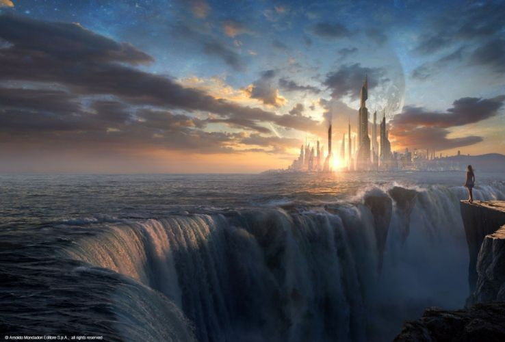 fantasy art sunset waterfall wallpaper