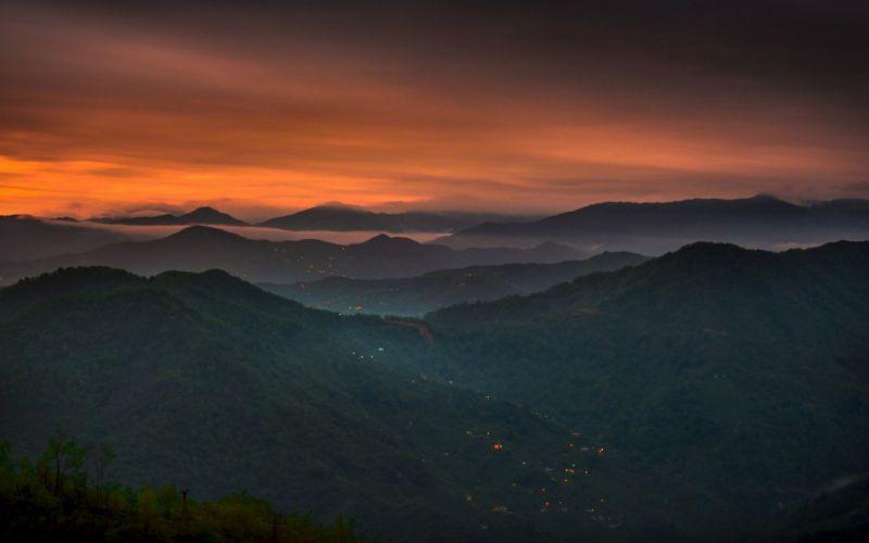 clouds forest landscape Lights mist mountain nature sunset turkey wallpaper