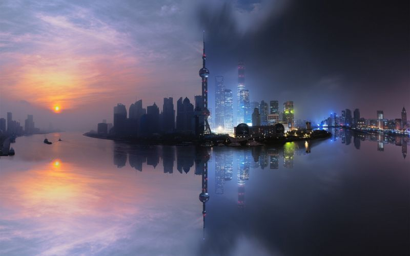 city cityscape Shanghai China skyscraper building sunset wallpaper
