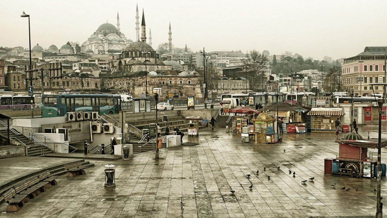 city Istanbul Turkey Mosques Architecture Islamic Architecture Building Buses Town Square Car Pigeons Bench Stairs Overcast wallpaper