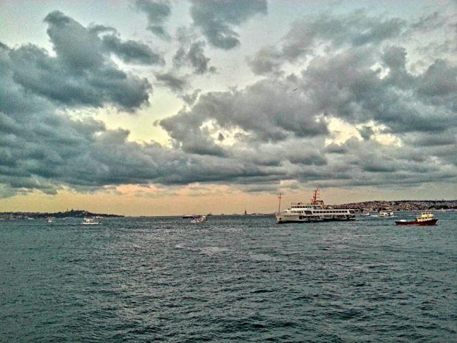 Bosphorus clouds Istanbul landscape sea ship turkey water wallpaper