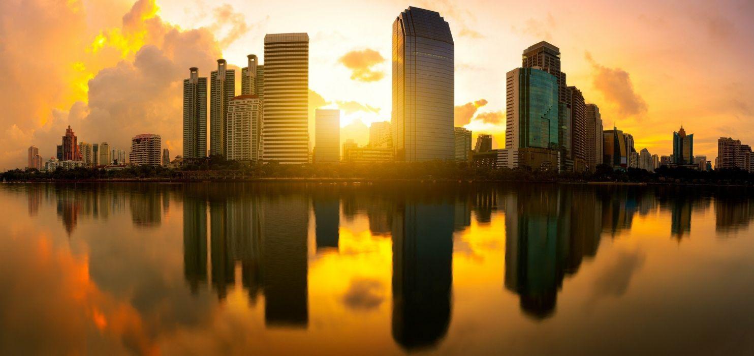 architecture city Cityscape clouds landscape photography reflection sun sunset wallpaper