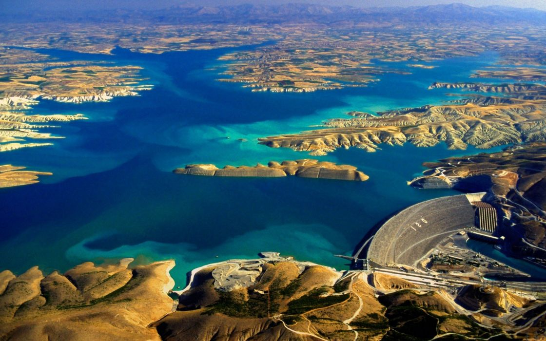 Aerial View blue Dam Hill lake landscape nature Panoramas turkey water erial view of the Ataturk Dam on the Euphrates River Turkey wallpaper
