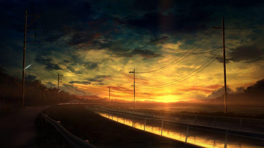 artwork digital art sunset road clouds sky canal power lines wallpaper
