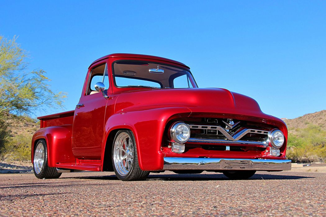 1955 Ford F-100 pickup truck red wallpaper