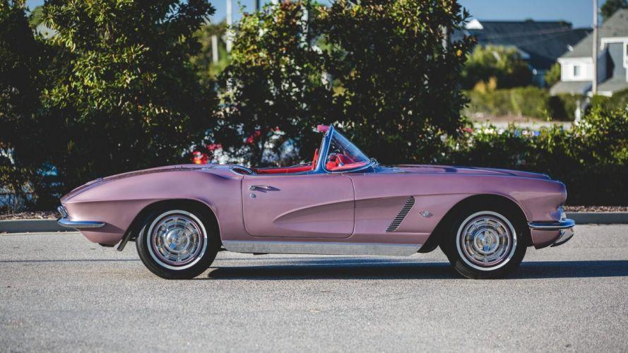 1962 CHEVROLET CORVETTE CONVERTIBLE (c1) cars classic Purple wallpaper