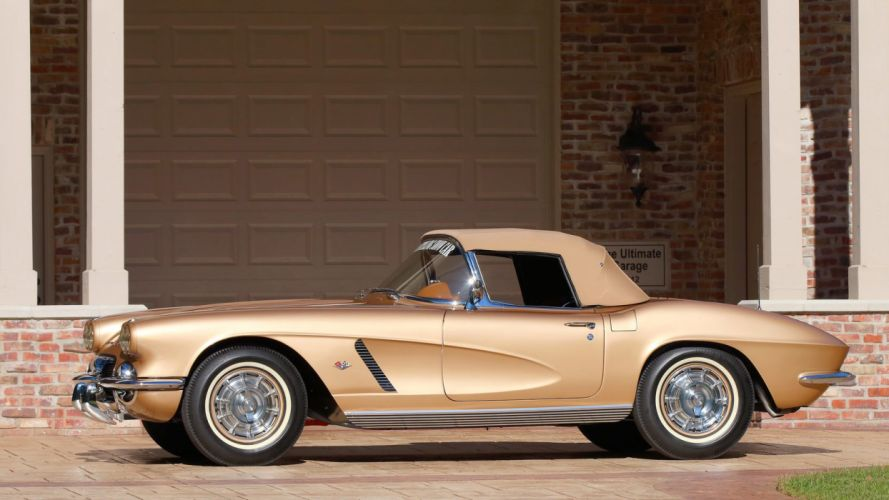 1962 CHEVROLET CORVETTE CONVERTIBLE (c1) cars STYLING Gold wallpaper
