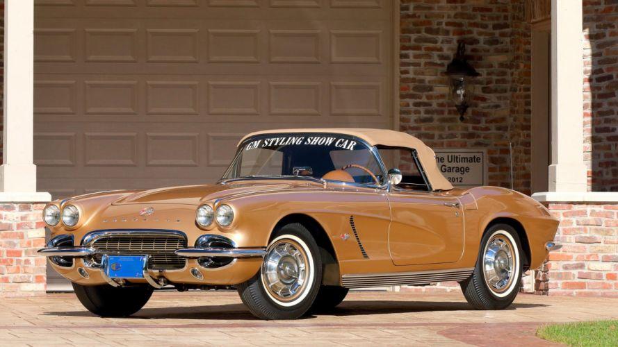 1962 CHEVROLET CORVETTE CONVERTIBLE (c1) cars STYLING Gold wallpaper