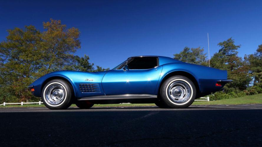 1971 CHEVROLET CORVETTE (c3) LS6 cars blue wallpaper