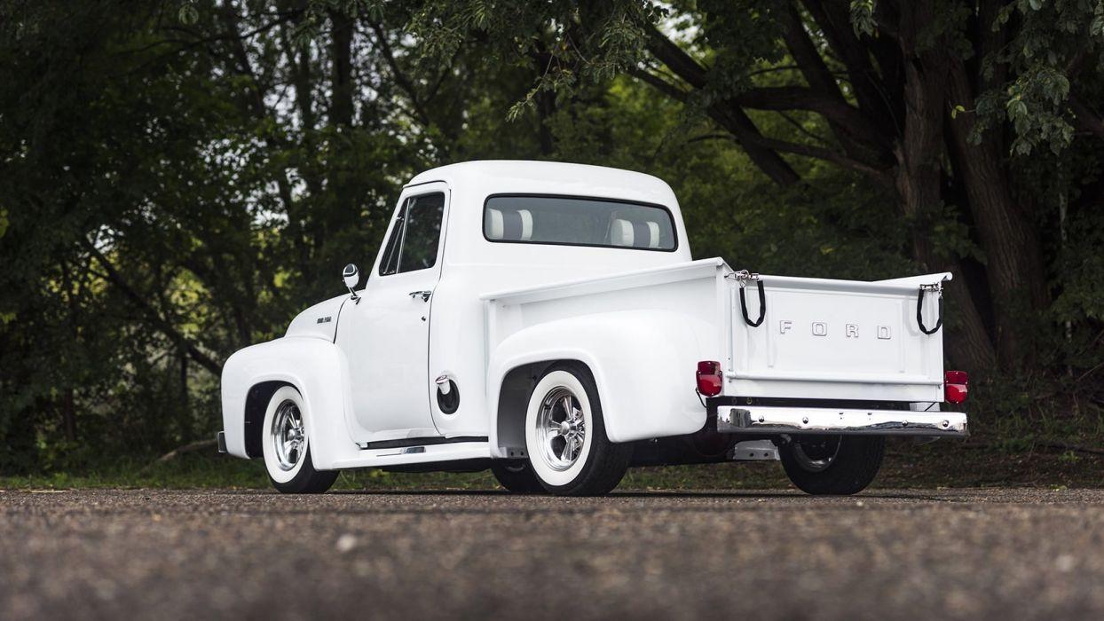 1953 FORD HOT ROD PICKUP truck white wallpaper