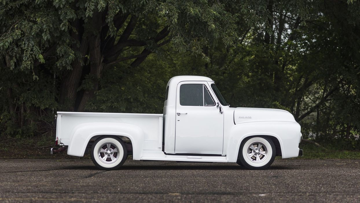 1953 FORD HOT ROD PICKUP truck white wallpaper