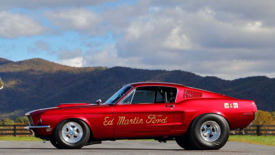1968 FORD MUSTANG RACE CAR red wallpaper