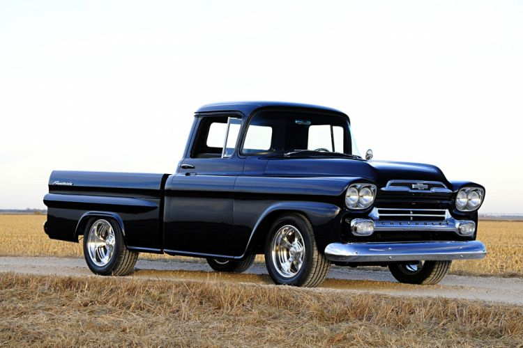 1959 Chevy Apache pickup black truck wallpaper