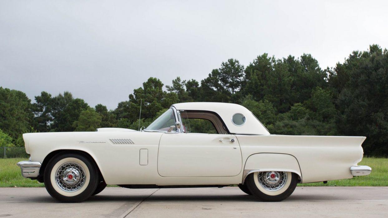 1957 FORD THUNDERBIRD cars classic white wallpaper