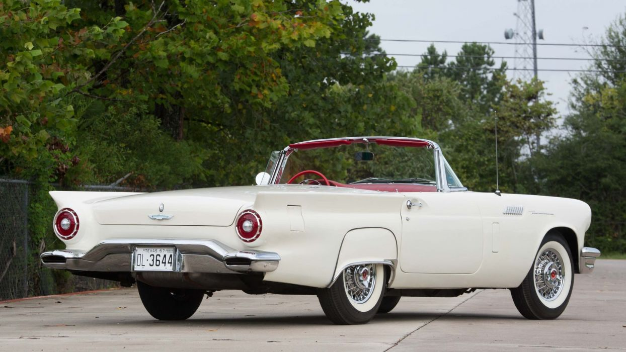 1957 FORD THUNDERBIRD cars classic white wallpaper
