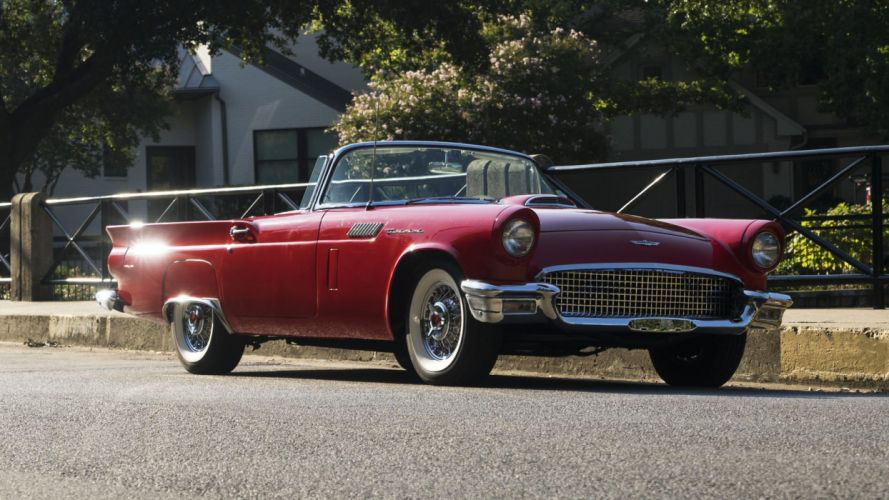 1957 cars classic ford thunderbird red E-CODE wallpaper