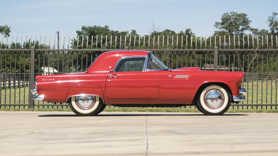 1955 cars classic ford thunderbird red wallpaper