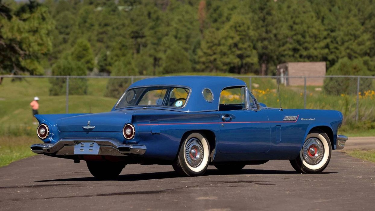 1957 cars classic ford thunderbird Blue wallpaper
