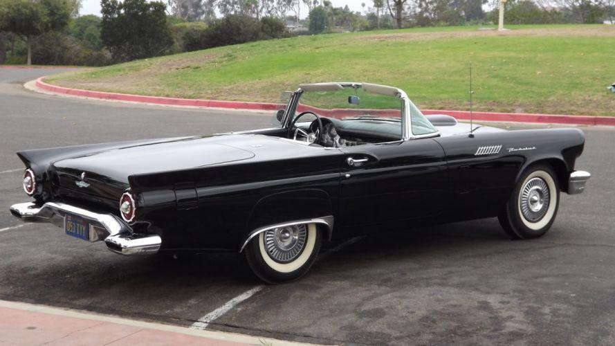 1957 FORD THUNDERBIRD E-CODE classic cars black wallpaper
