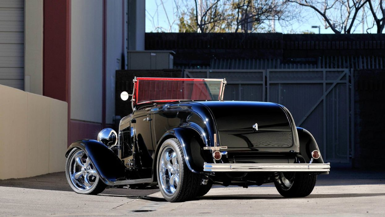 1932 FORD ROADSTER STREET ROD cars black wallpaper