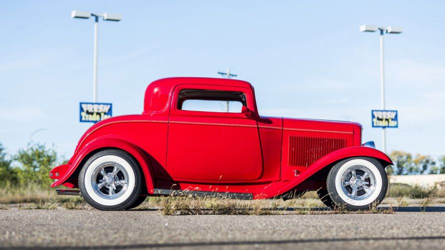 1932 Ford 3-Window Coupe Street Rod cars red wallpaper