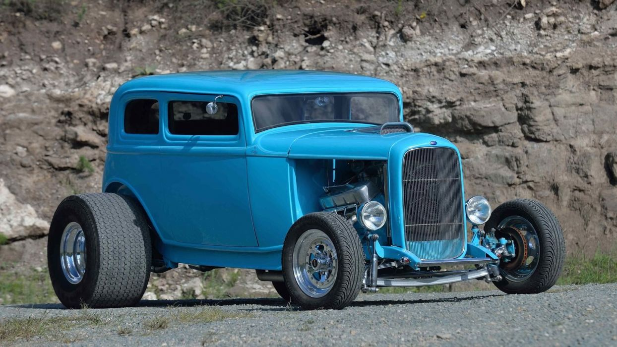 1932 FORD VICKY STREET ROD cars blue wallpaper