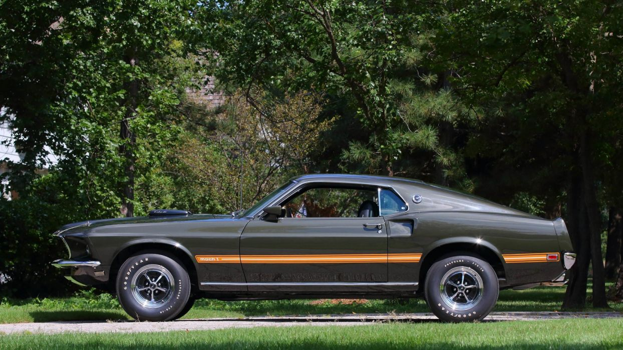1969 Ford Mustang Mach 1 Fastback Cars Black Jade Wallpaper 2