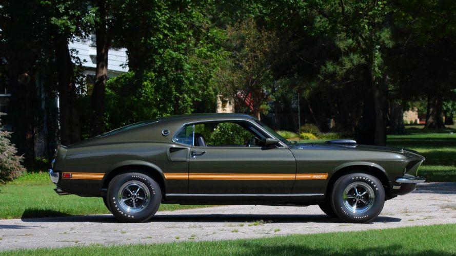 1969 FORD MUSTANG MACH-1 FASTBACK cars Black Jade wallpaper