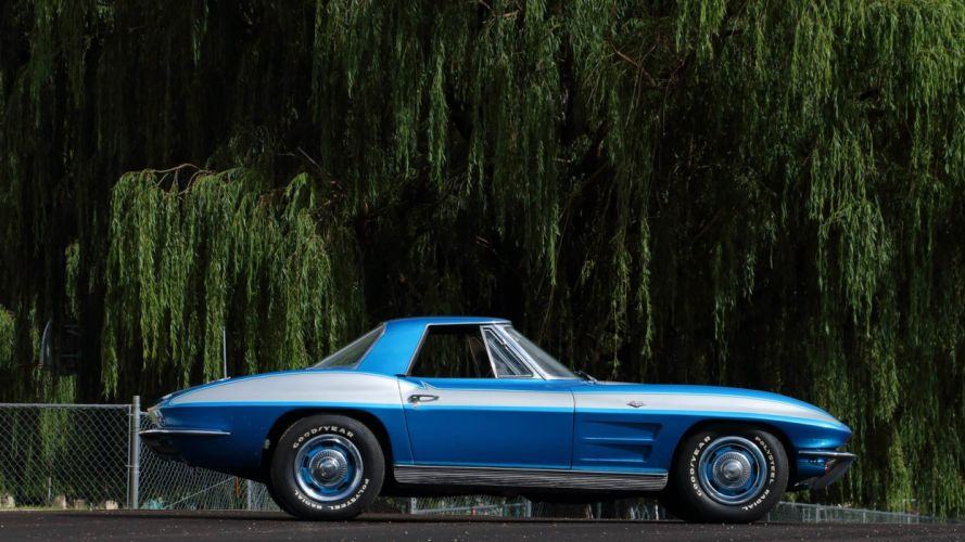 1963 Chevrolet Corvette (c2) Convertible cars blue wallpaper