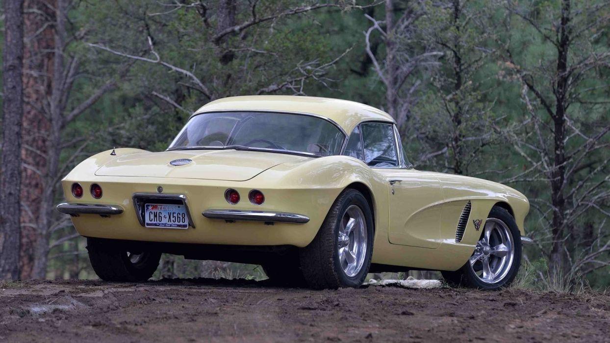 1962 CHEVROLET CORVETTE (c1) CONVERTIBLE cars Yellow wallpaper