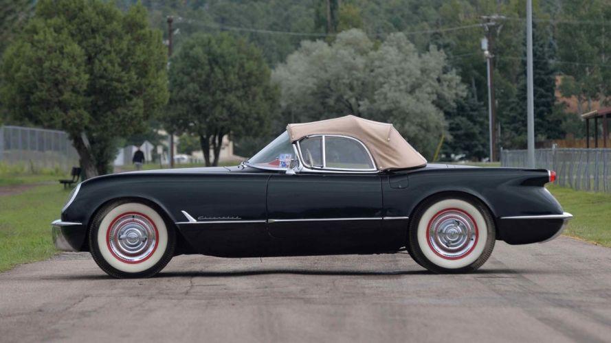 1954 CHEVROLET CORVETTE (c1) ROADSTER cars black wallpaper