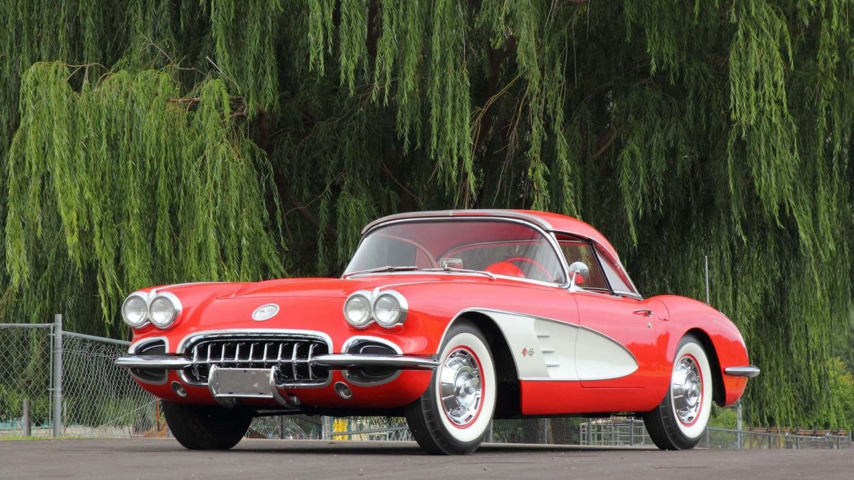 1960 CHEVROLET CORVETTE (c1) CONVERTIBLE cars red wallpaper