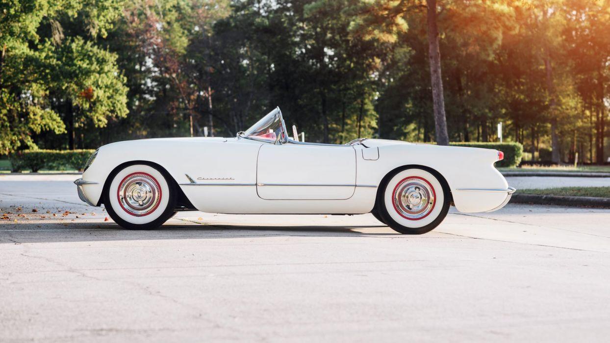 1953 CHEVROLET CORVETTE (c1) ROADSTER cars white wallpaper