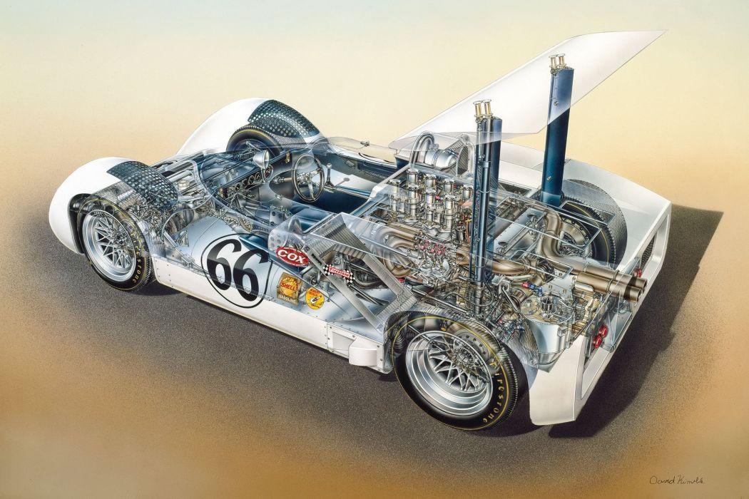 chaparral can-am racing cars cutaway wallpaper
