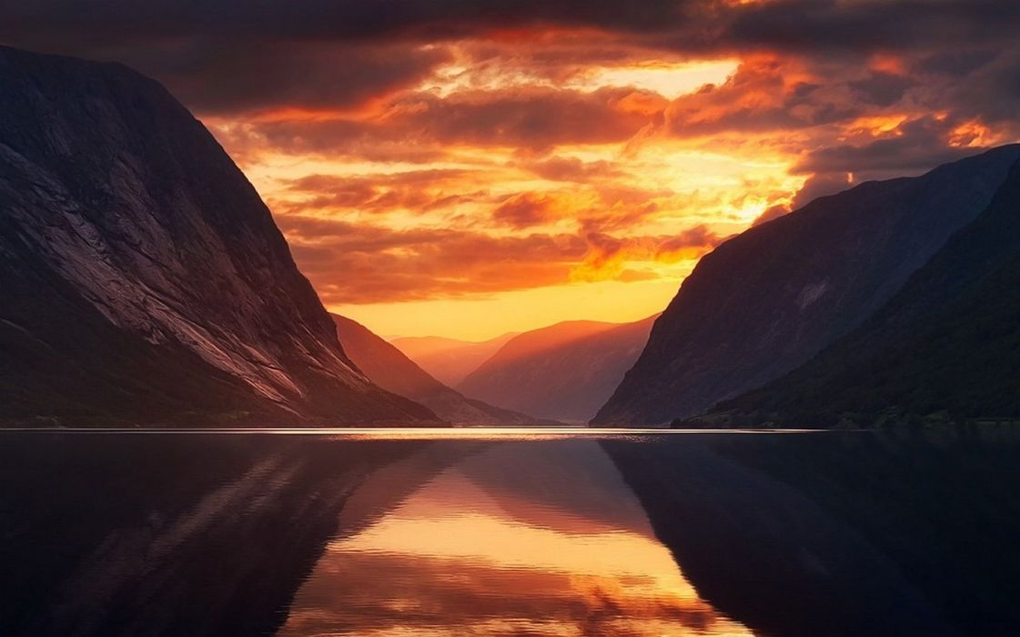 nature landscape fjord mountains sky clouds Norway wallpaper