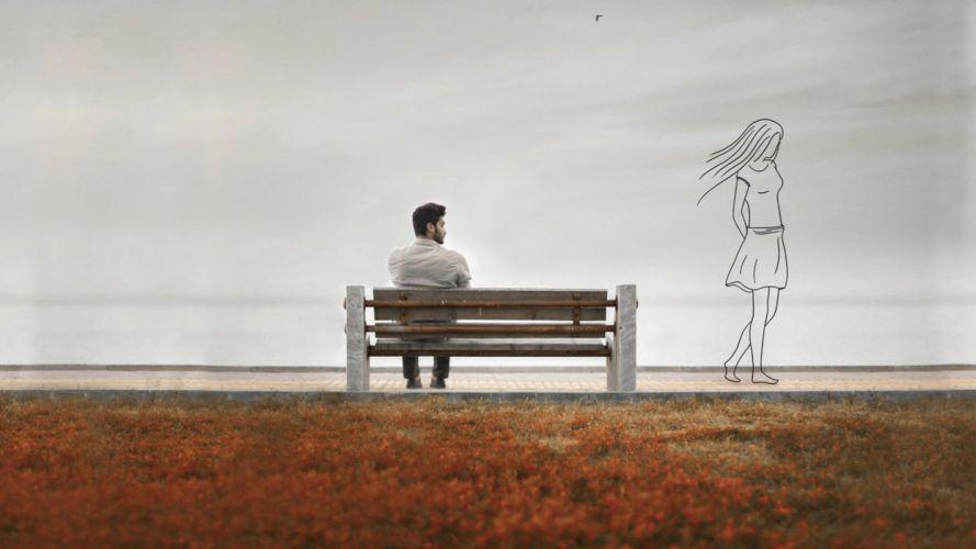 memory guy bench girl silhouette memories wallpaper