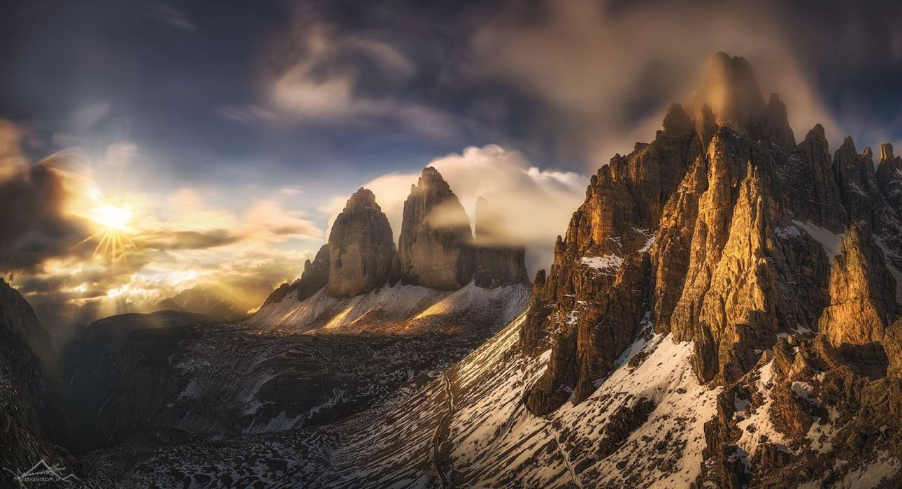 nature Landscape Mountains Clouds Long Exposure Trees Photoshop Sun Rays Sun Snowy Peak Winter Snow Mist Valley Rock wallpaper