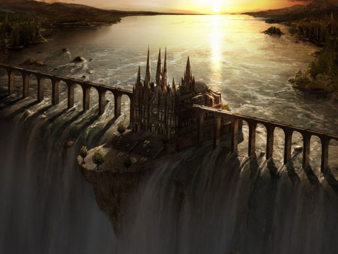 fantasy art waterfall castle bridge sunset wallpaper