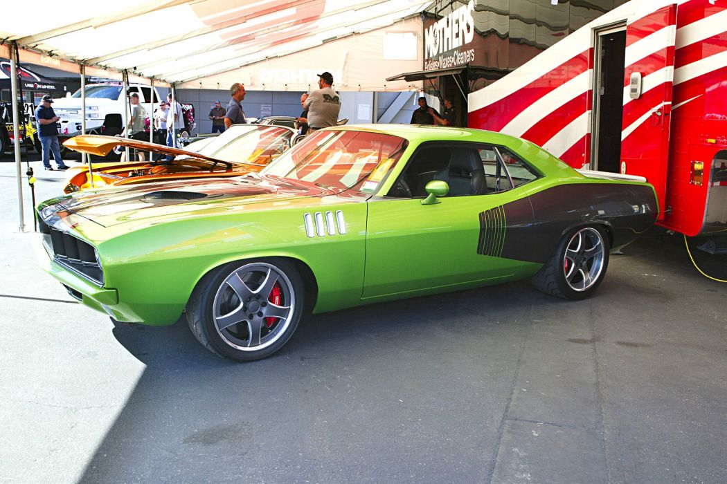 2016 sema show 1971 plymouth cuda green hem restomod wallpaper