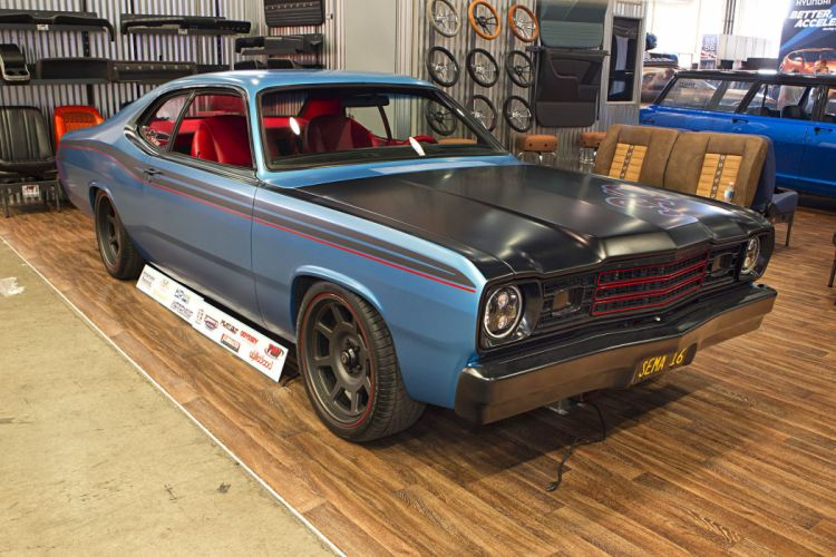 2016 sema show 1973 plymouth duster blue restomod wallpaper