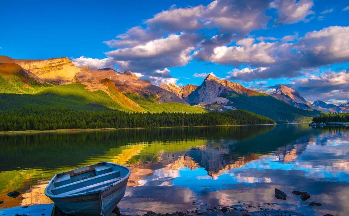 naturaleza lago barca montay wallpaper
