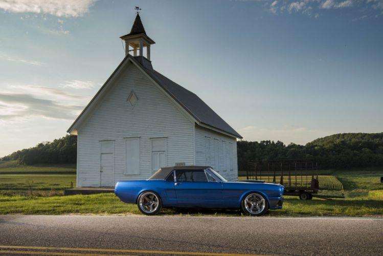 1965 Ballistic ford Mustang convertible cars blue resto mod wallpaper