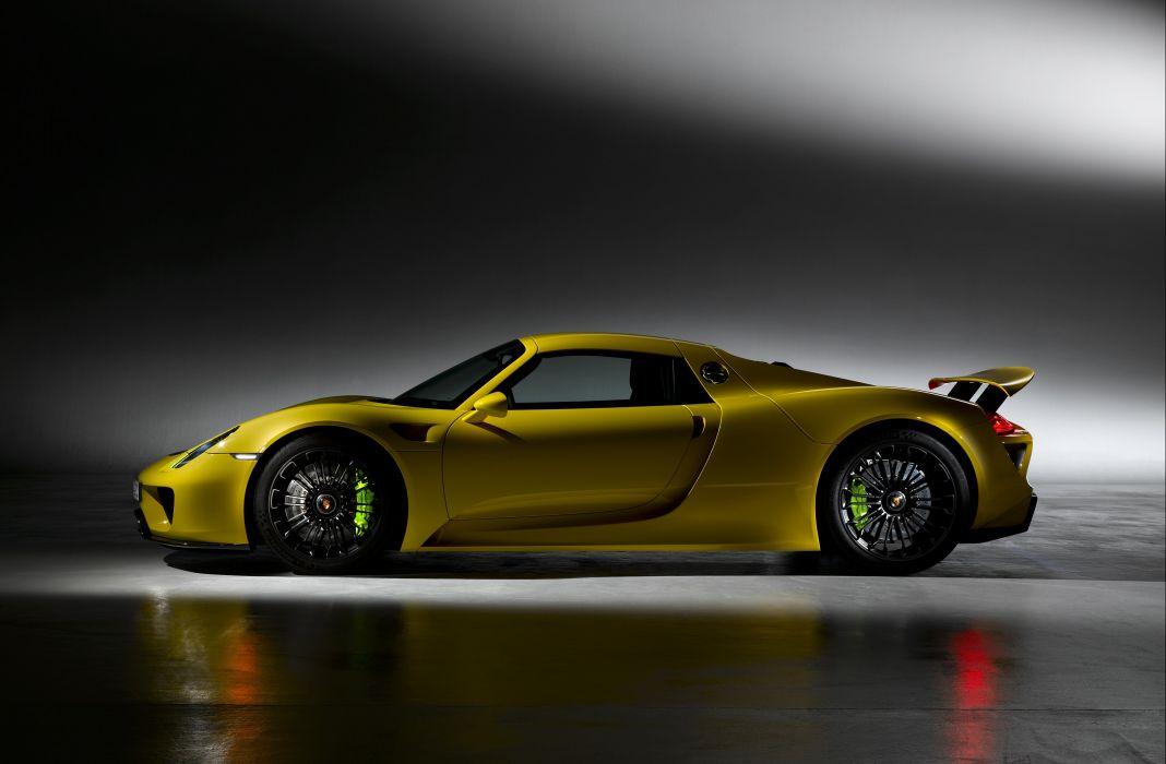 Porsche 918 Spyder cars supercars yellow 2014 wallpaper