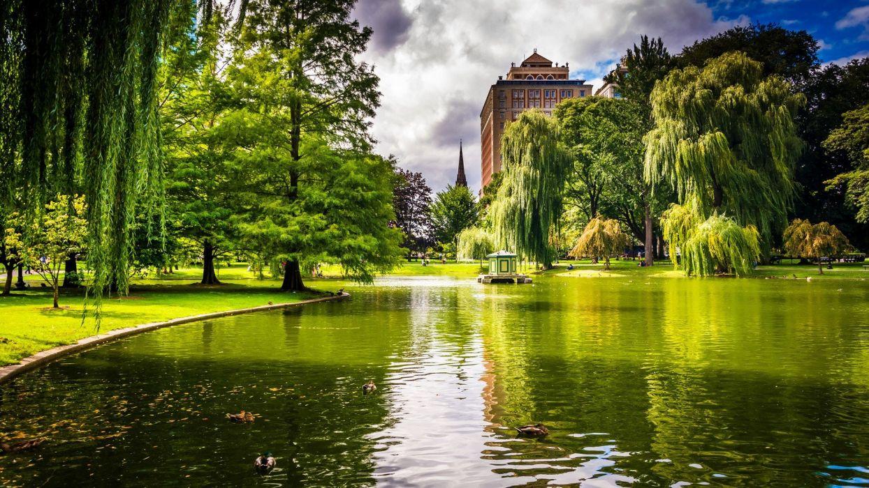 lago jardin palacio arboles wallpaper