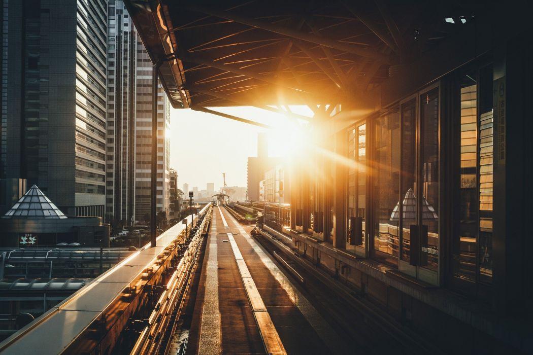 city bridge road building sunset Japan sunlight wallpaper
