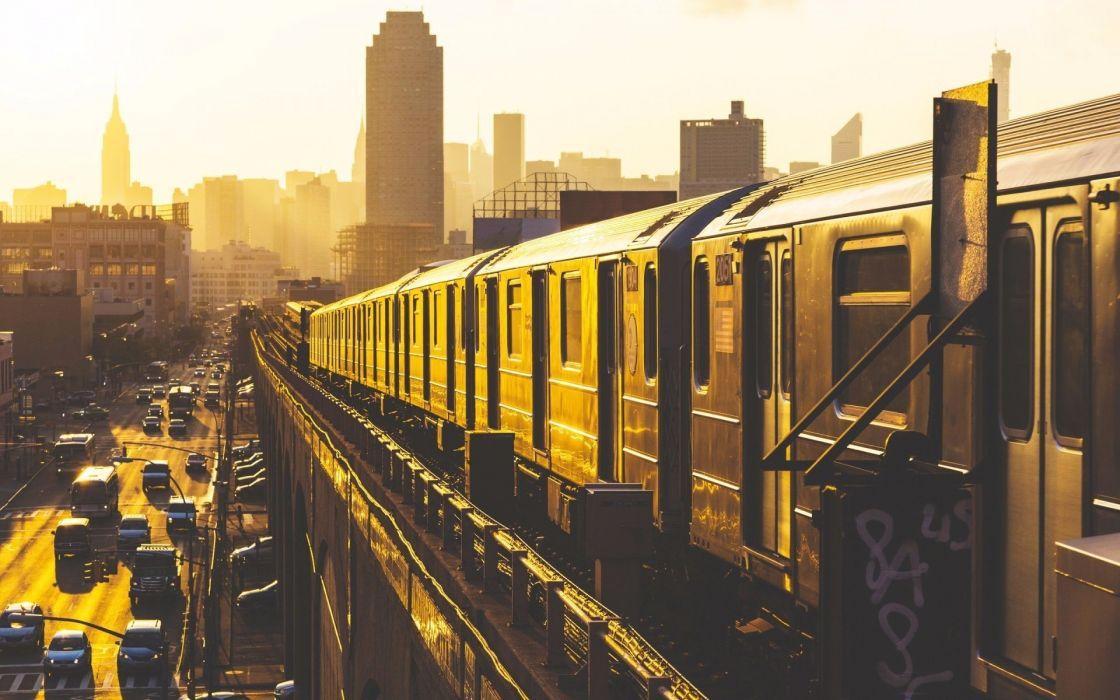 cityscape cityt rucks buses car road morning skyscraper railway metro sunlight wallpaper