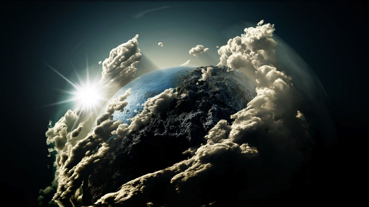 clouds Earth planets sky sun wallpaper