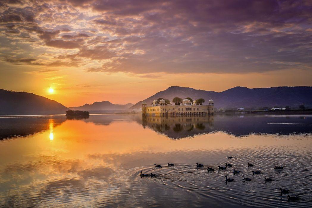 landscape nature India duck castle Sun lake reflection clouds photography wallpaper
