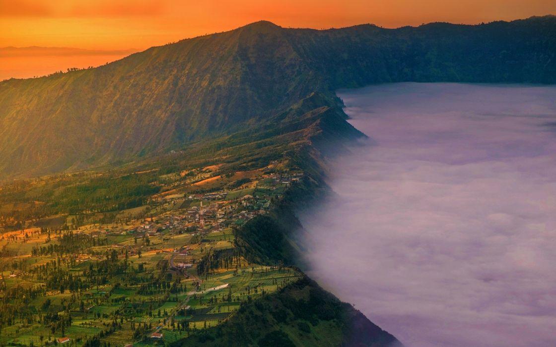 landscape nature village Mount Bromo Java Indonesia wallpaper