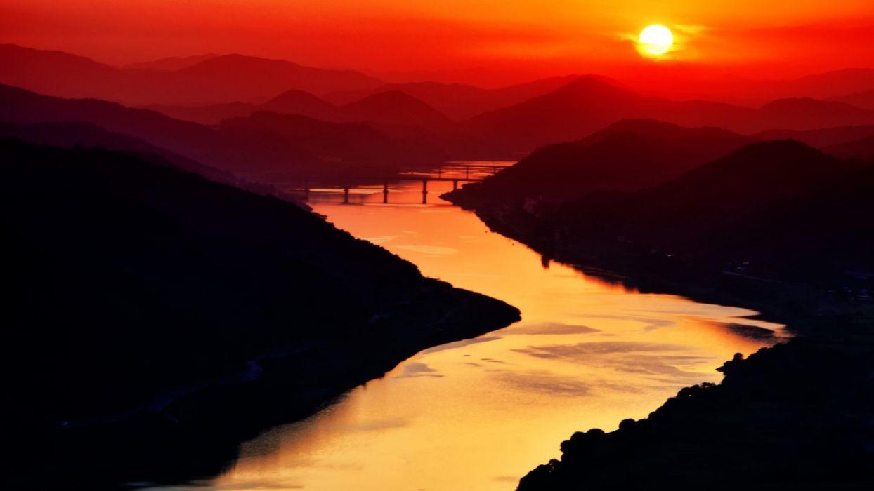 landscape sunset sunlight river nature wallpaper